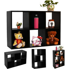 Black 6-Cube Organizer Storage Shelf Bookcase Home Office