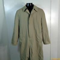 TODAY'S MAN Vtg Long RAINCOAT Rain Trench Coat Mens L 42 Khaki w/ liner