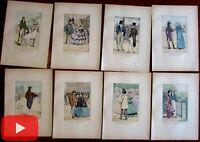 Male Fashion Illustration public coats hats 1898 lot x 8 hand color prints