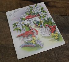 VTG Greeting Card Good Wishes To My Friend Flower Garden Tichnor Quality Boston