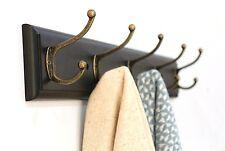 Hook Rack Holder Wall Mount 5 Hooks Solid Wood Coat Hat Hanger Bag Key Organizer