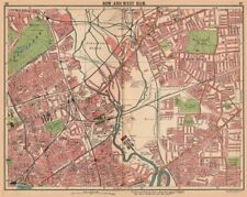 LONDON E. Bow West Ham Bromley Stratford Old Ford. Bus & tram routes 1913 map
