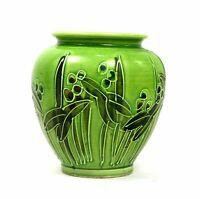 Art Nouveau Style Art Pottery Vase Small Green Foliate Hand Painted