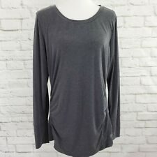 Gap Fit Maternity Long Sleeve Gray Thumbholes Ruched Sides Stretch Size L Large