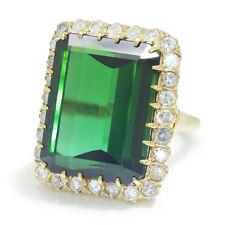 Vintage Certified Green Tourmaline & Diamond Ring 14K Yellow Gold 24.45ctw