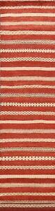 Striped Gabbeh Kashkoli Oriental Modern Long Runner Rug Hand-knotted Carpet 2x15