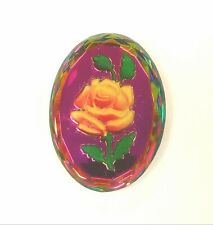 Huge 40x30 mm Colorful Flower Reverse Carved Glass Cabochon
