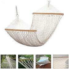 "80"" X 59"" Cotton Double Wide Solid Wood Spreader Outdoor Patio Yard Hammock"