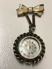 Working Vintage 1950's Ladies Gold Croton Guilloche Enameled Mechanical Watch AC