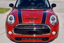 Mini Cooper 2014-2018 Black and White Hood Stripe Decals - Exact Fit No trimming