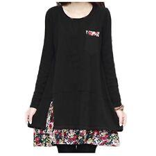 Winter Cotton Blends Tunic Chiffon Loose Slouch Japan Top Dress Sz 14 Black 10