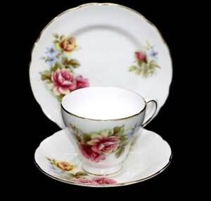 Vintage Royal Sutherland England pretty pink & yellow roses teacup trio set