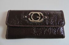 Guess Ladies Wallet Crinkle Faux Leather Brown Long Wallet Snap Closure