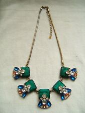 Large Malichite Glass & Other Crystals & Jewels Necklace Runway Statement