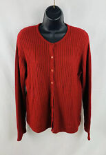 Crystal Kobe Womens Cardigan Sweater Cable Knit Long Sleeve Red Size Medium