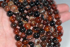 """10MM BROWN RED AGATE GEMSTONE ROUND LOOSE BEADS 16"""""""