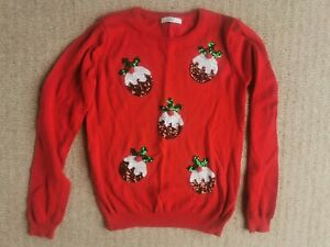 Marks and Spencer M&S Girls Red Sequin Christmas Pudding Jumper Age 12-13 Years