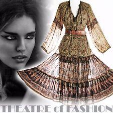 Vestido con Falda Top Camisa Indio Vintage 70s 60s Hippy Boho gasa Boda S M L XL