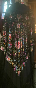 Antique ladies embroidered floral piano shawl