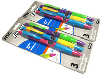 6 PENS INC® FORMA™ COMFORT GRIP NEON RETRACTABLE BALL POINT PENS BLACK INK 1.0mm