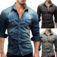 Fashion Men Casual Long Sleeves Button Shirt Slim Fit Denim Wash Jeans Shirts
