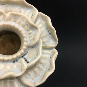 Ceramic Vase Bud Bloom Blue 3D Flower, Art Pottery, White Aqua Blue Glaze, BOHO!