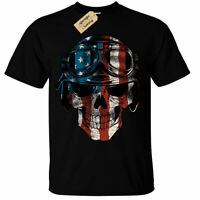 Kids Boys Girls USA Skull T-Shirt Mens american flag biker motorcycle motorbike