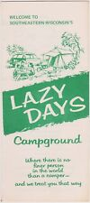 1970's Lazy Days Campground West Bend Wisconsin Brochure