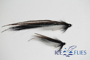 ICE FLIES. Tube fly. Sunray shadow black cone head. Pick a size. (3-pack)