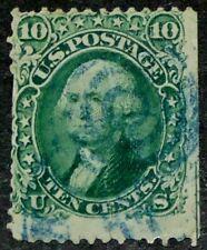 US 1861 #68 - 10c Green Washington Blue Fancy Cancel Tear Used