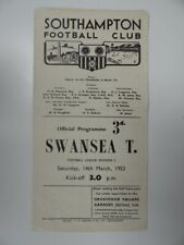 More details for southampton v swansea town | 1952/1953 | div. 2 | 14 mar 1953 | uk freepost