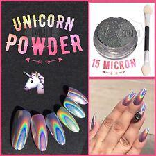 1g Unicornio polvo holochrome Arco Iris Holo Plata Espejo de pigmento Cromo + Pincel