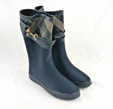 Henry Ferrera Women Winter Rain Snow Boots 6 US Black Strap Plaid Pattern Shoes