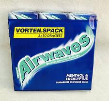 Airwaves Kaugummi Menthol & Eucalyptus im 3er Pack 42g (10g/0,83€) Zuckerfrei