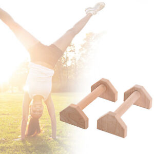 1 Pair/2pc Wooden Parallettes Gymnastics Yoga Crossfit Pushup Bars Handstand Bar