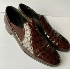 AMALFI Brown  Loafers Womens Size 10  Patent Italian Leather Faux Croc Shoes