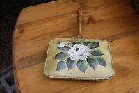 Vintage Hand Painted Tole Ware Silent Butler White Flowers Wood Handle