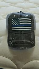 THIN BLUE LINE DISTRESSED HAT