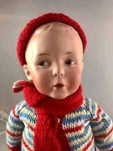 "14"" Antique German Bisque Heubach 8774 Shoulder Head Whistling Boy Doll! 18047"