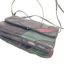 Leather Multi Color Patch Work Wallet Handbag Crossbody Purse Clutch Organizer