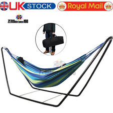 Double Hammock With Space Saving Steel Stand Includes Portable Carrying Case UK