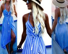 Womens Summer Boho Maxi Dress Evening - Blue and White Stripes
