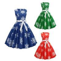 Retro Snowflake Print Sleeveless Xmas Slim Dress Women Party Swing Dresses