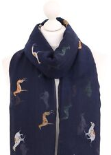 Soft Racing Greyhound Scarf Ladies Navy Blue Cotton Blend Dog Greyhounds Wrap UK