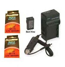 Two 2 Batteries + Charger for Casio EX-Z2300 EX-Z2300BK EX-Z3000 EX-ZR10 EXZR10