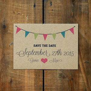Personalised Vintage Bunting Kraft Wedding Save the Date or Evening Rustic Brown