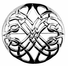 CELTIC KNOTWORK SILVER PLATED ROUND BROOCH LARGE 0799