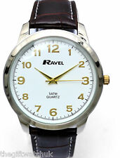 Ravel Gents Classic 5ATM Watch, Big Numbers, Dark Brown Strap, Gold Tone Detail