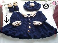 Baby classic coat hat + booties knitting pattern in chunky yarn. sailor shoes