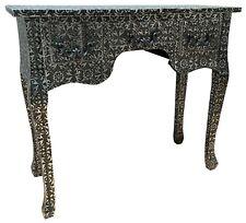 Black & Silver Console Desk Bedroom Table Metal Hammered 3 Drawer Retro Storage